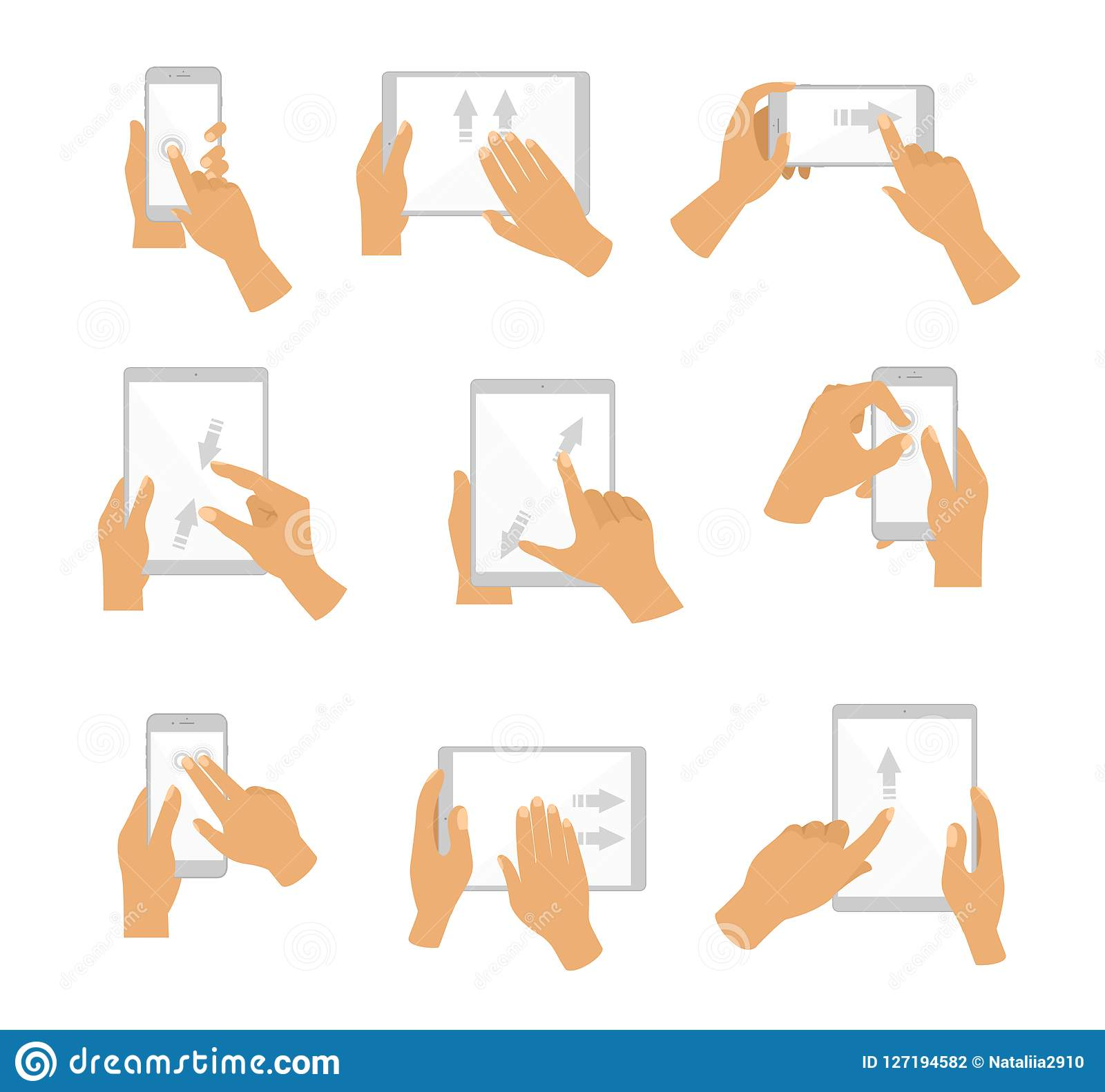 Vector illustration of collection of Hand Gesture for Touch Screen. Fingers touch screen of gadgets, flat design.