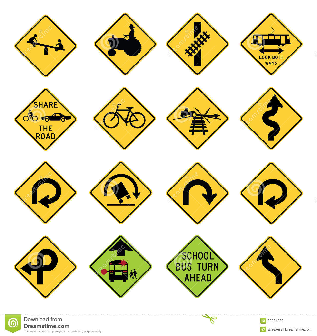 Traffic warning signs in the united states stock vector - Simbolos con significado ...