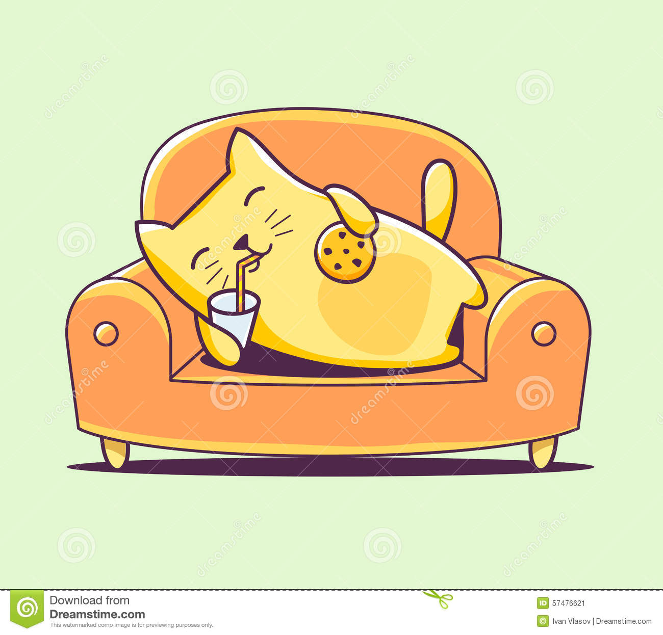 Vector Illustration Of Color Character Cat Lying On The