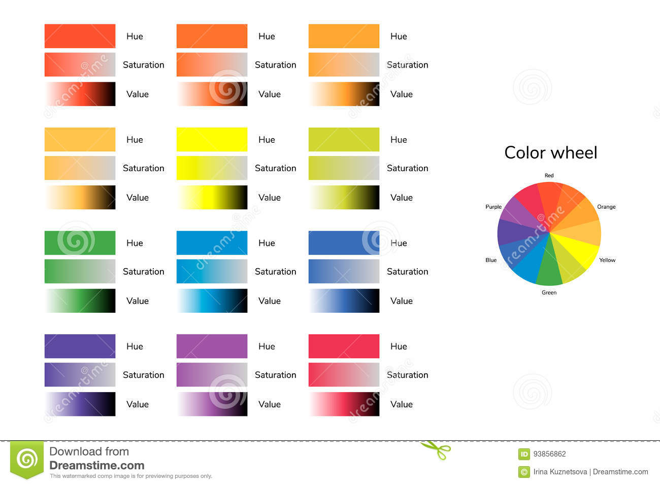 Vector Illustration Of Color Circle Hue Saturation Value Infographics