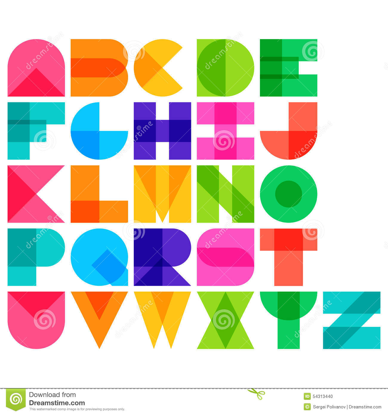 Vector Illustration Of Color Font Stock Vector Image
