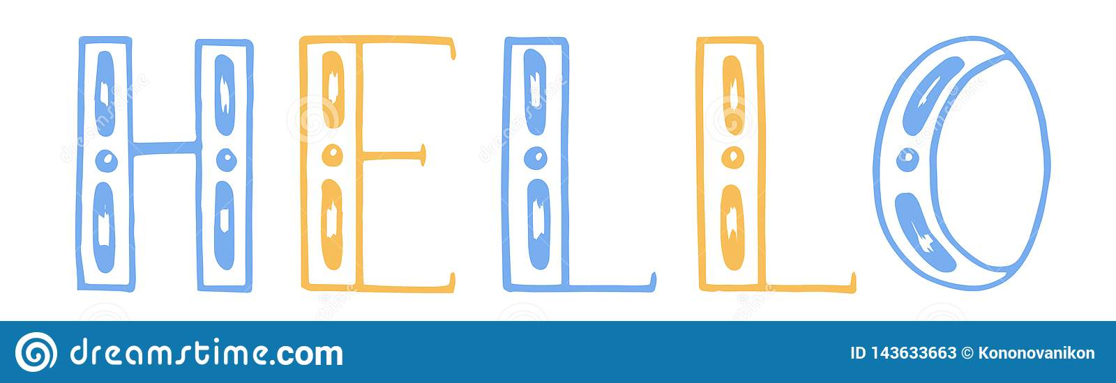 Vector illustration. color hand draw lettering. Hello. white background. yellow and blue