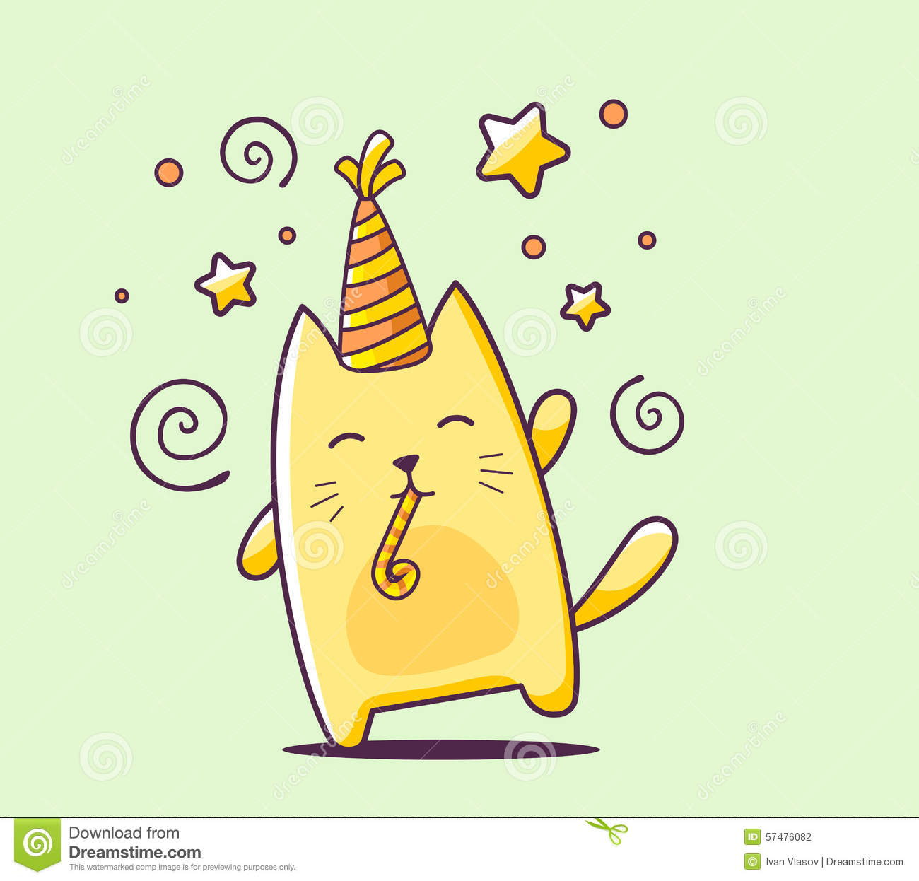Vector Illustration Of Color Happy Character Cat With Hat And Bl Stock