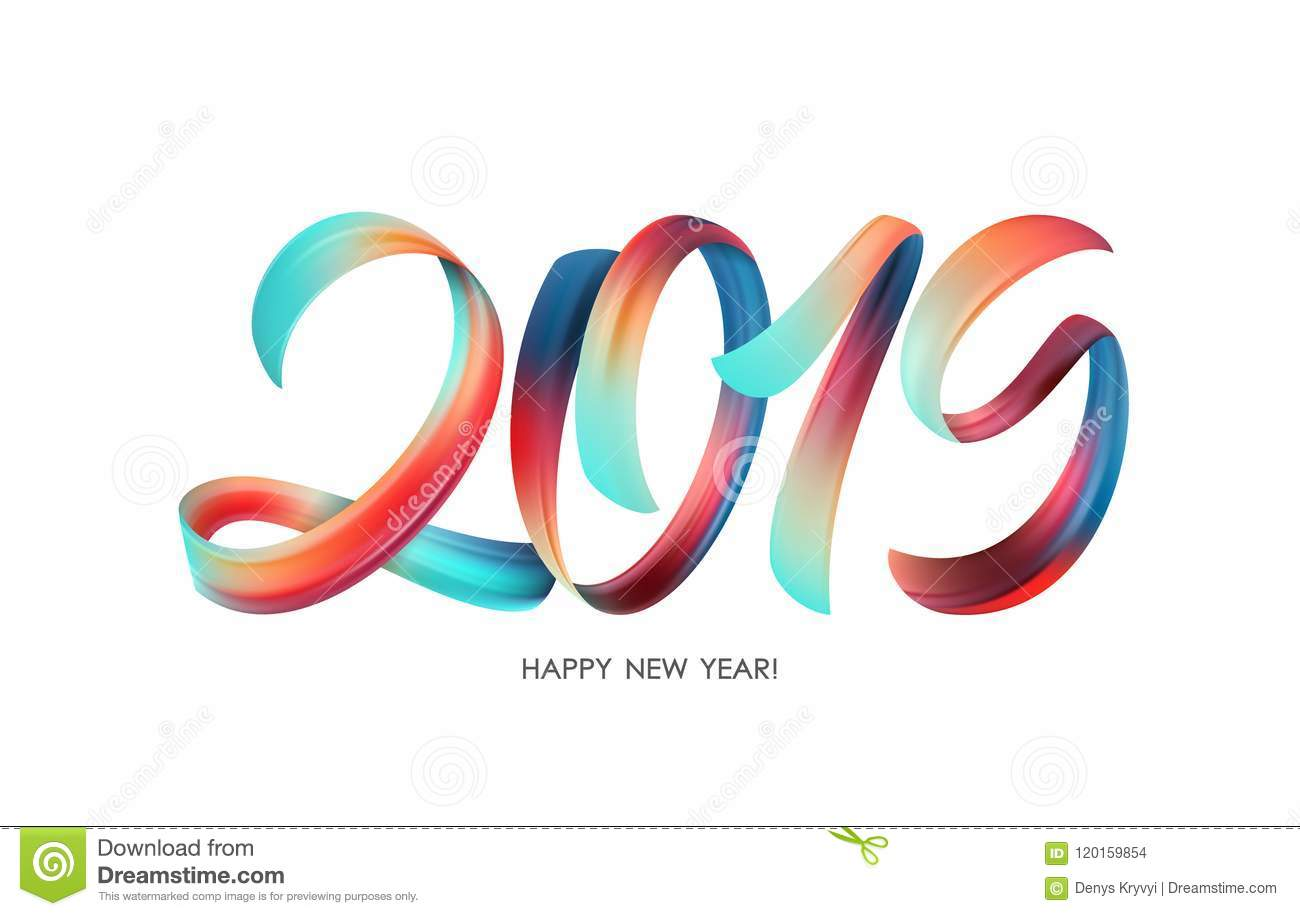 Vector illustration: Colorful Brushstroke paint lettering calligraphy of 2019 Happy New Year on white background.
