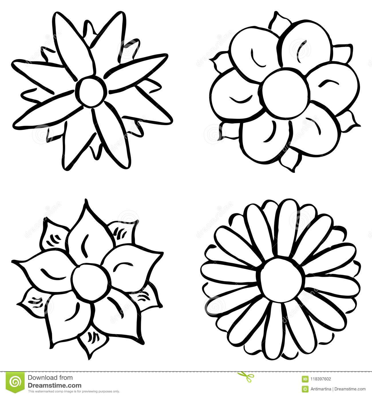 Colorful cartoon flowers stock vector  Illustration of