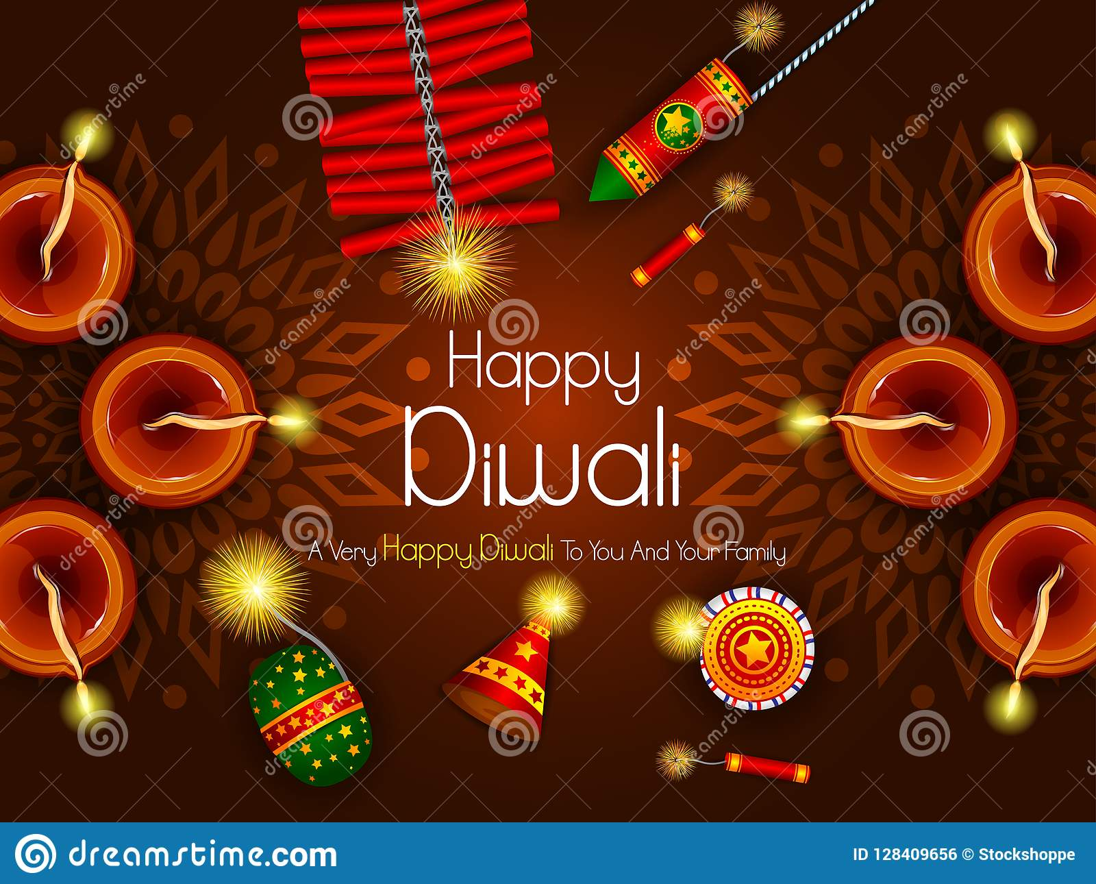 Colorful Fire Cracker With Decorated Diya For Happy Diwali Festival