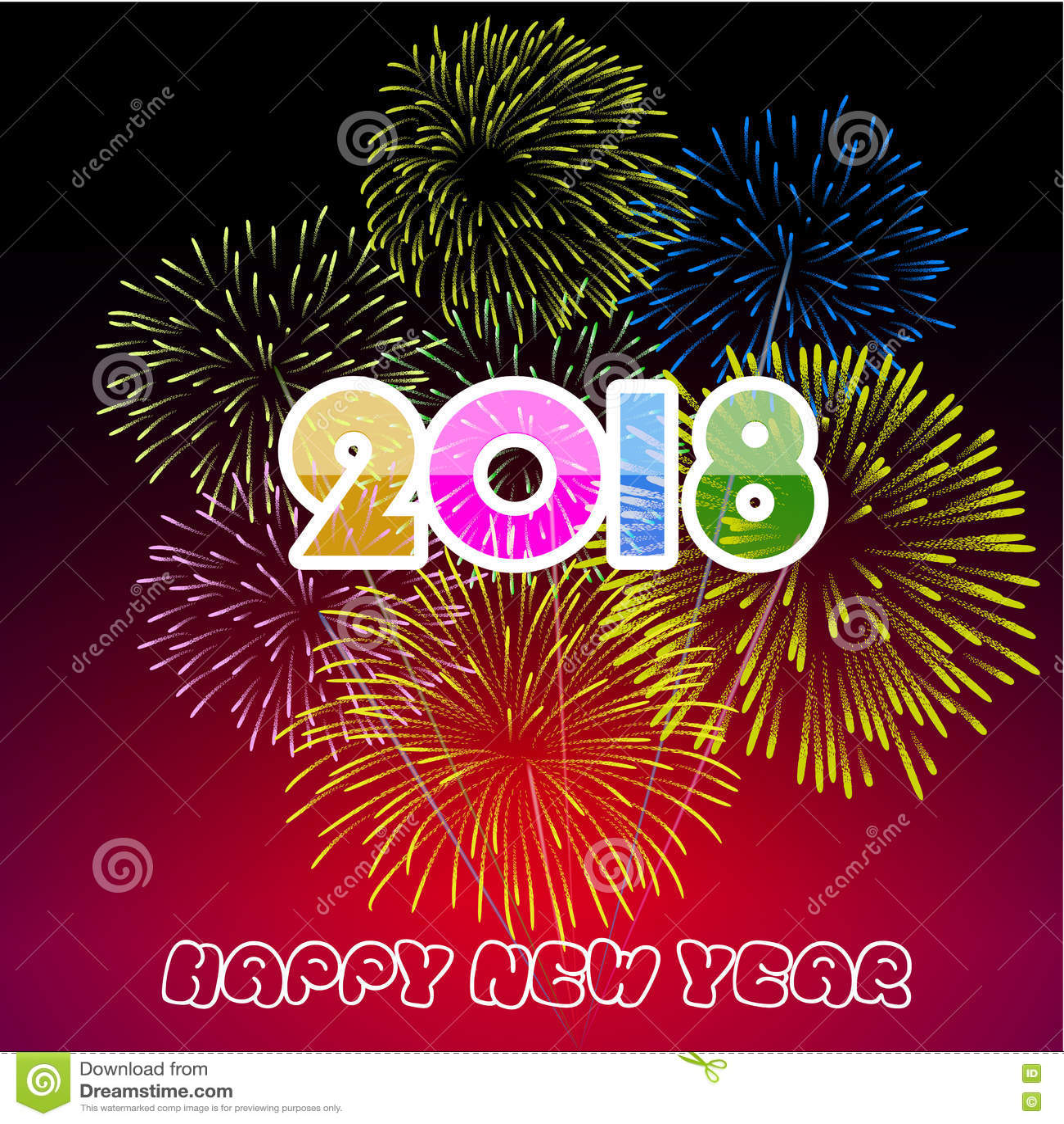 happy new year 2017 fireworks clip art