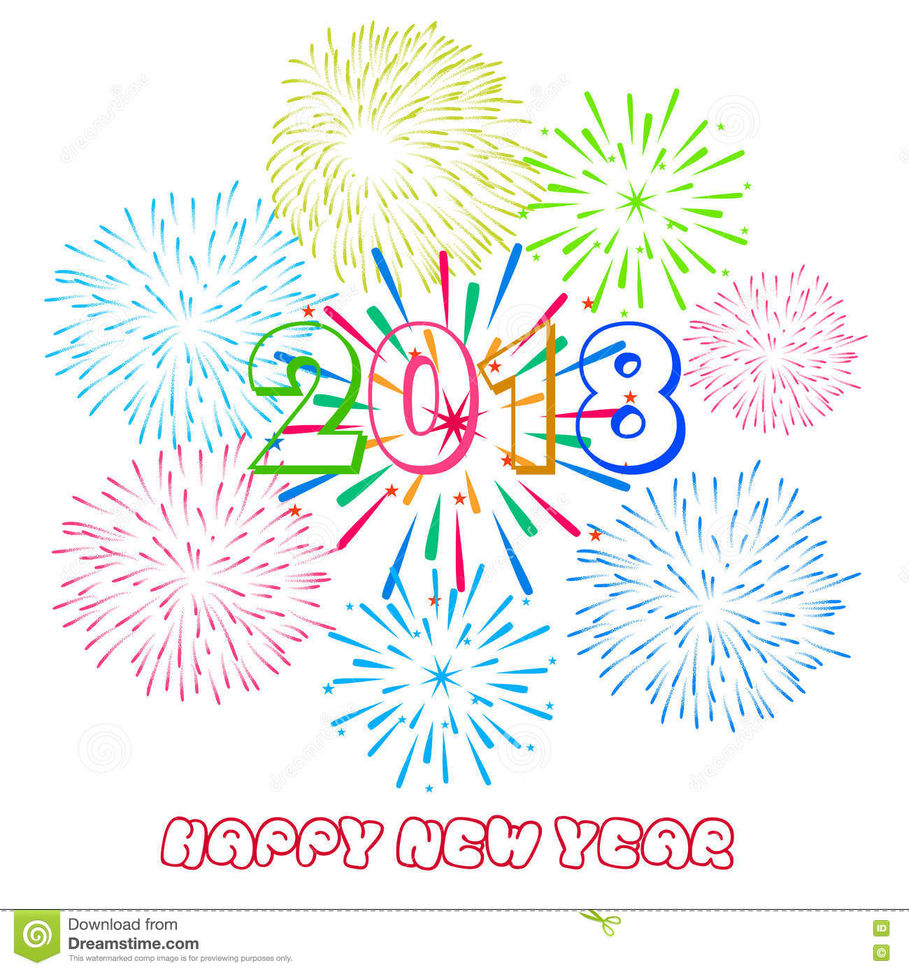 vector illustration of colorful fireworks happy new year 2018