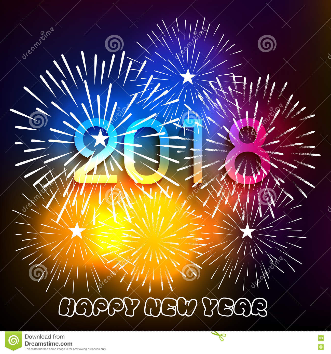 Vector Illustration Of Colorful Fireworks. Happy New Year 2018 ...