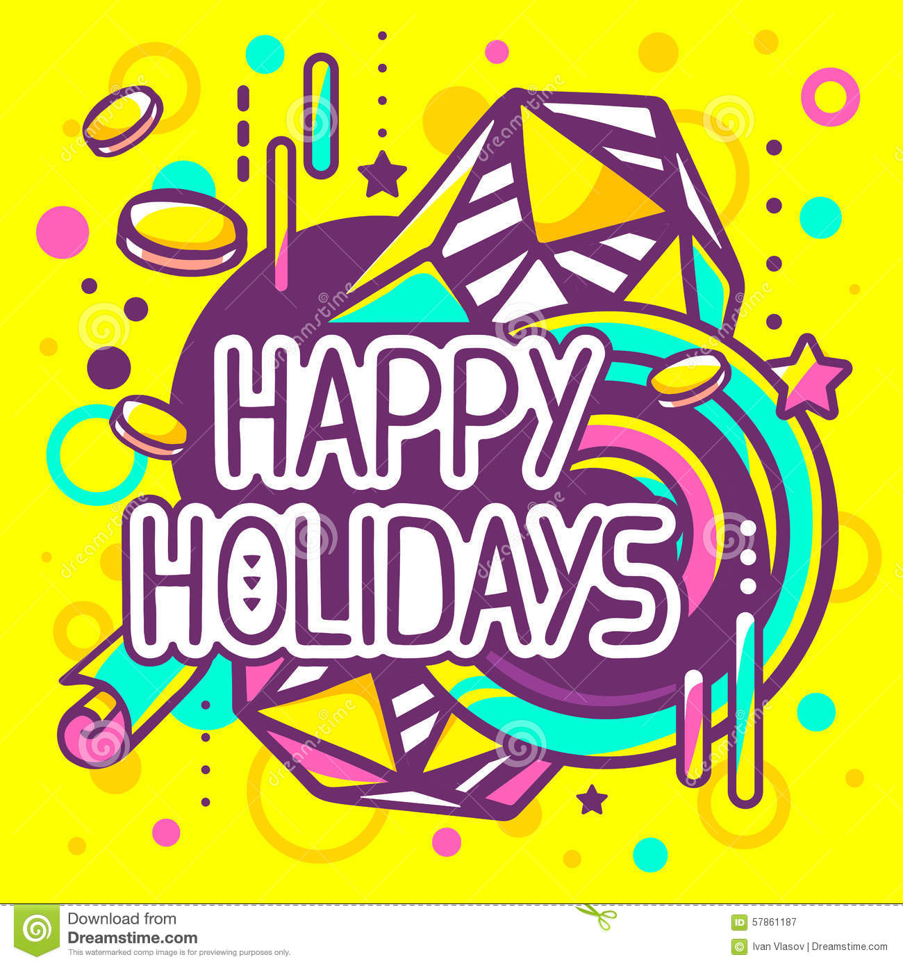 Happy Holidays Inspiration: Vector Illustration Of Colorful Happy Holidays Quote Stock