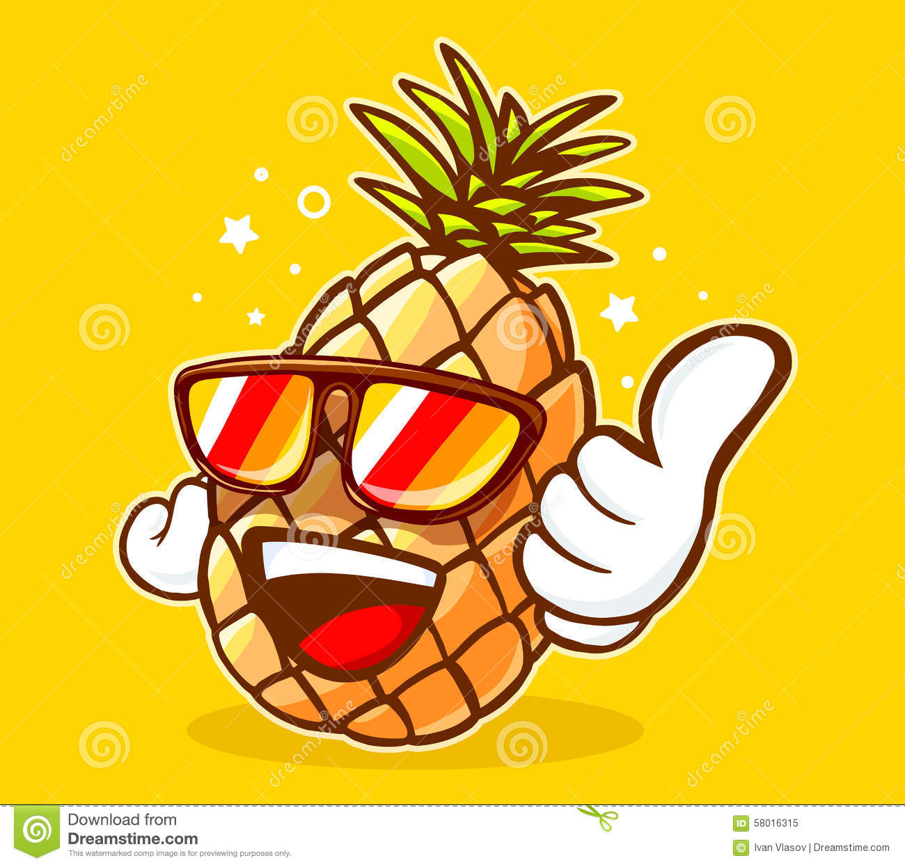 Vector Illustration Of Colorful Hipster Pineapple
