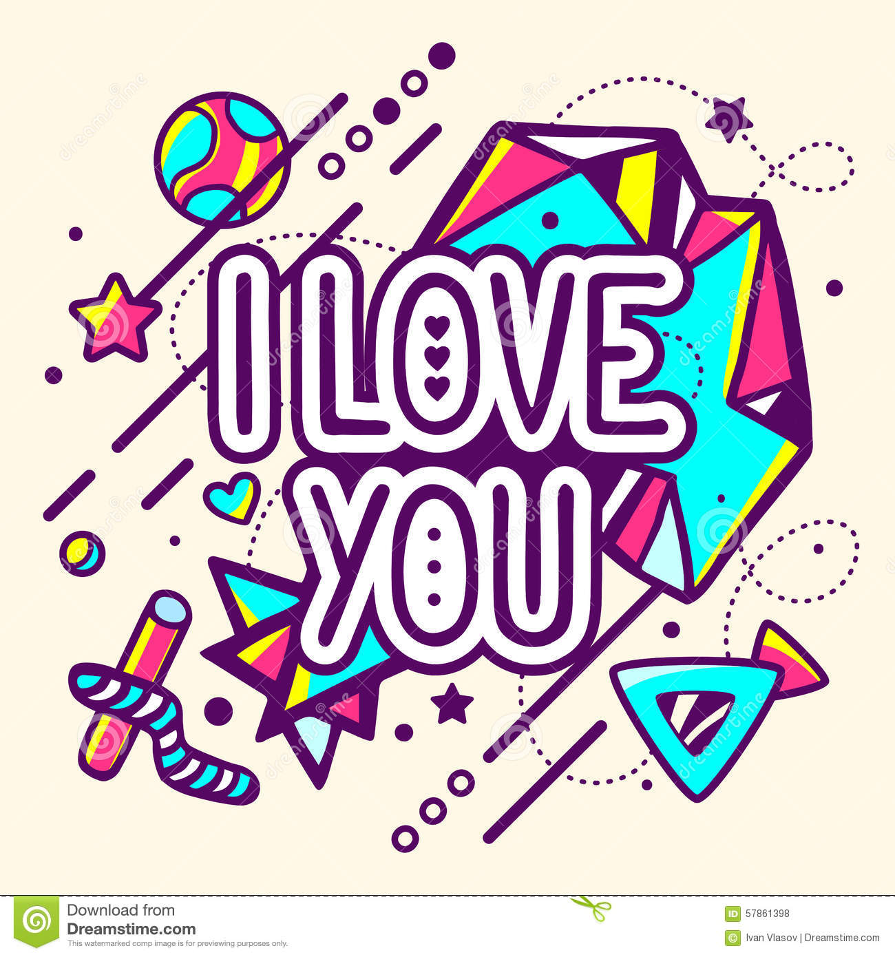 Vector Drawing Lines Quotes : Vector illustration of colorful i love you quote stock