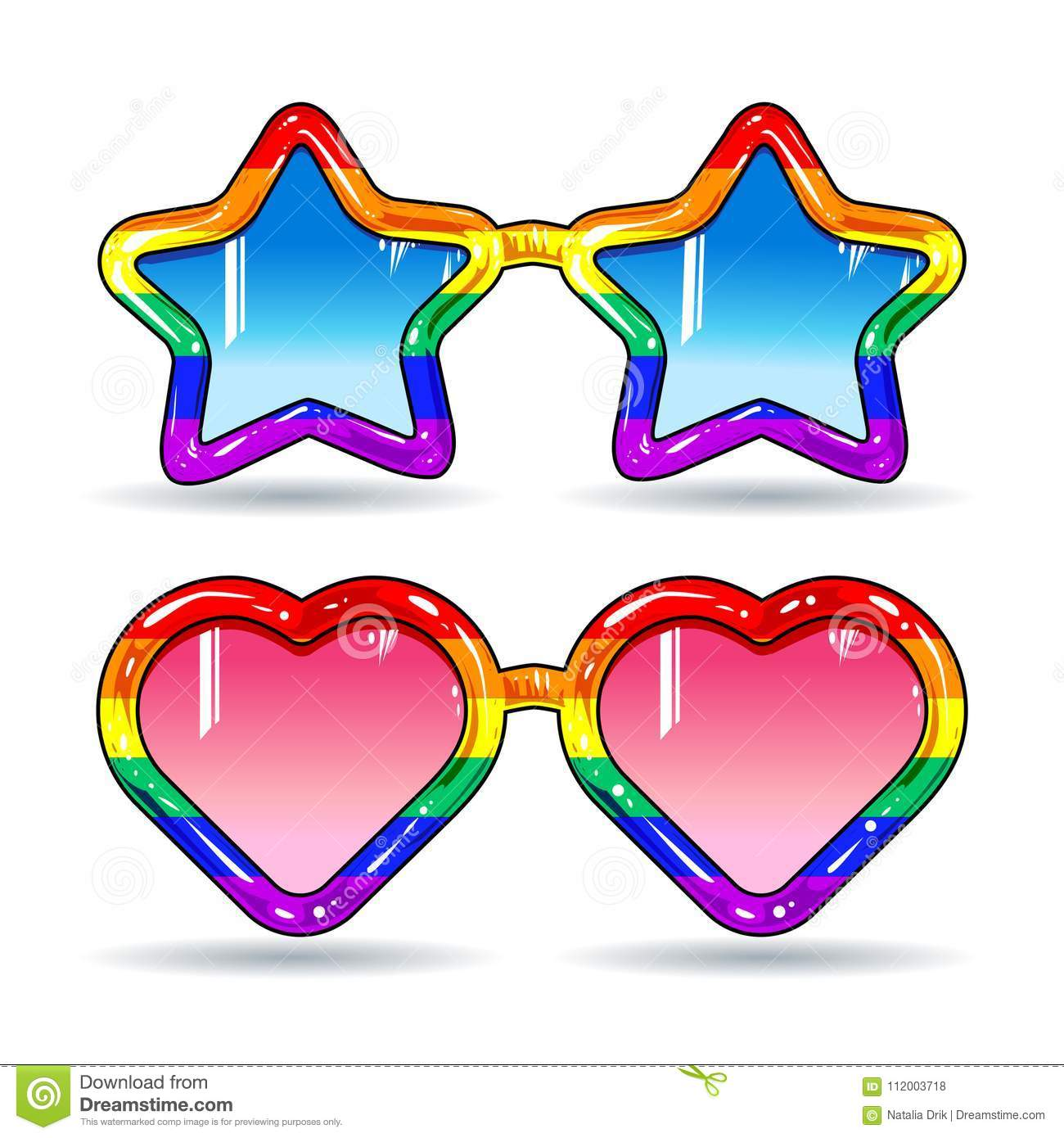 2d342d9c9 Disco sunglasses in the shape of hearts and stars, frame in rainbow colors