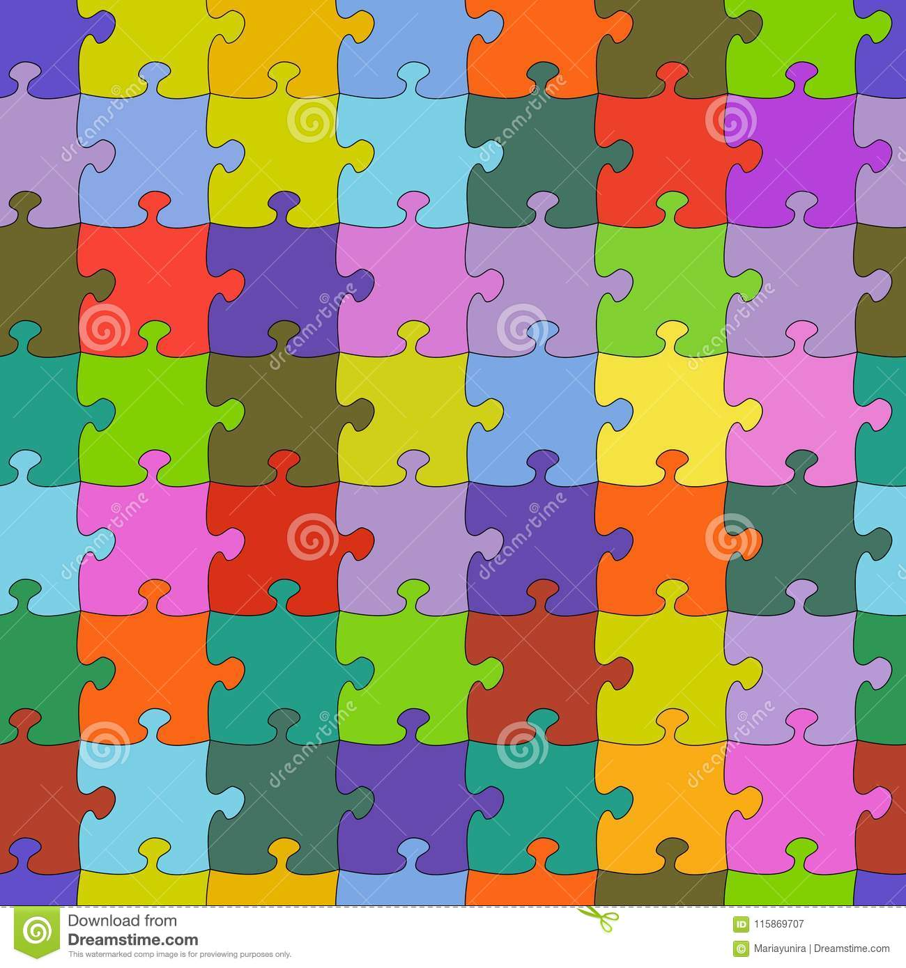Puzzle Jigsaw Random Colorful Seamless Vector Background