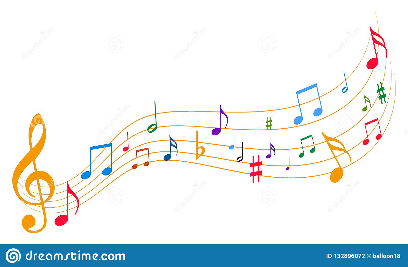 Music notes stock vector  Illustration of beautiful - 132896072