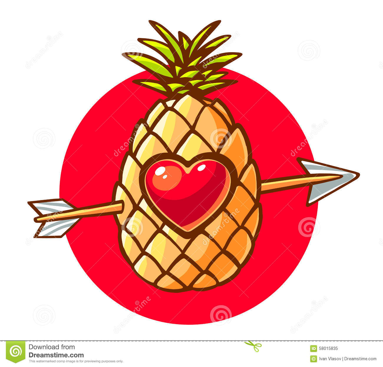 Vector Illustration Of Colorful Pineapple With Heart And