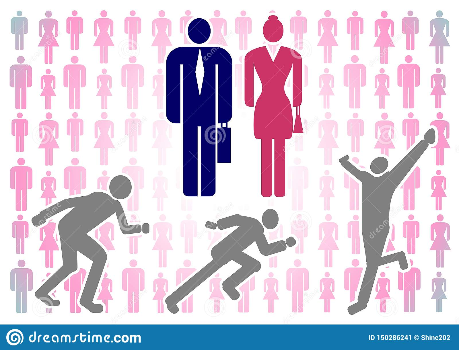 Vector illustration with colorful silhouettes of men and women on a white background, as well as the figure of a running man
