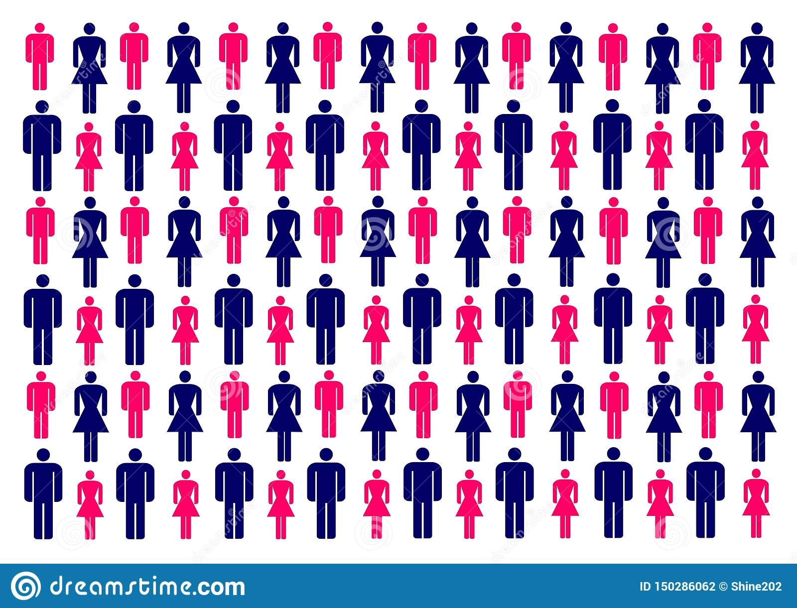 Vector illustration with colorful silhouettes of men and women