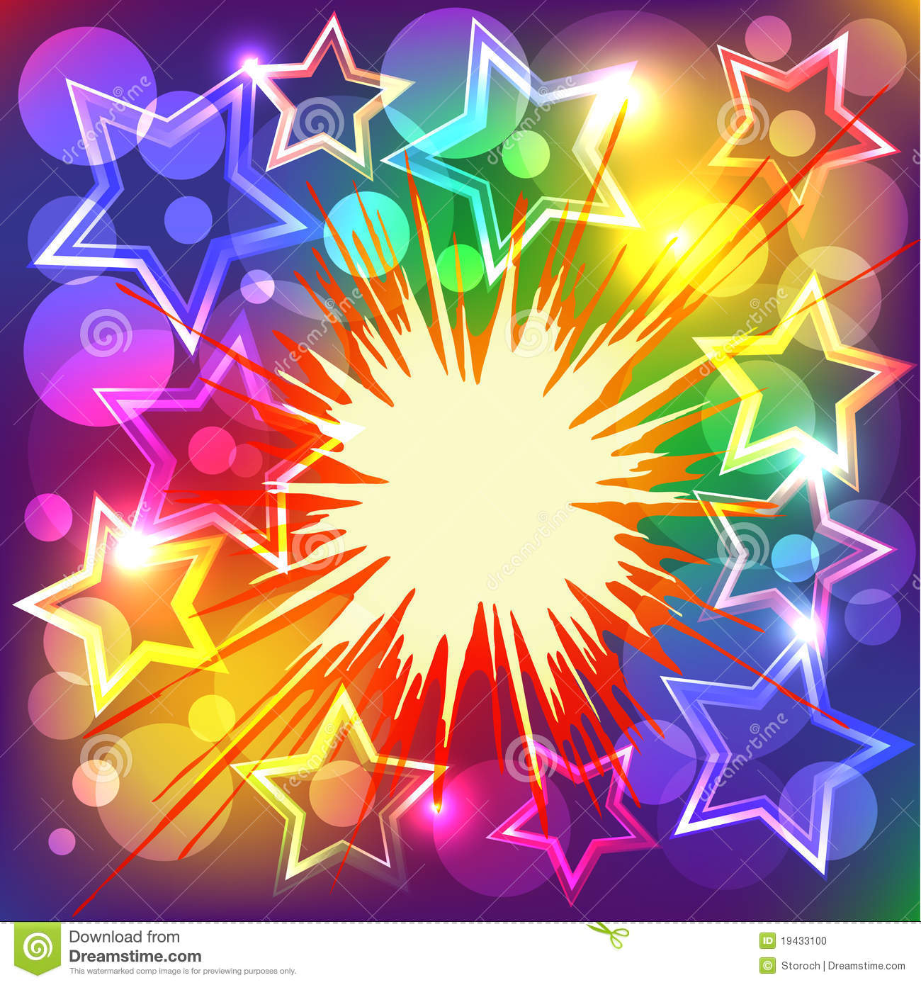 Vector Illustration Of Colorful Stars Explode Stock Photo
