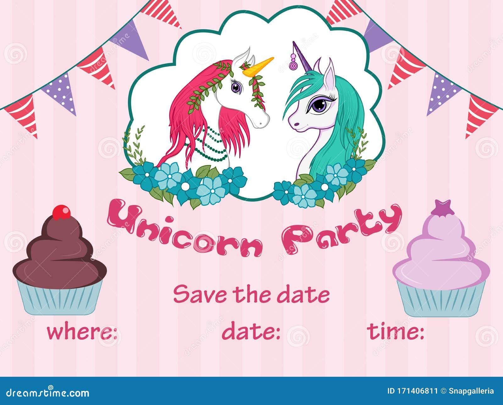 vector illustration of colorful trendy fairy tale unicorn
