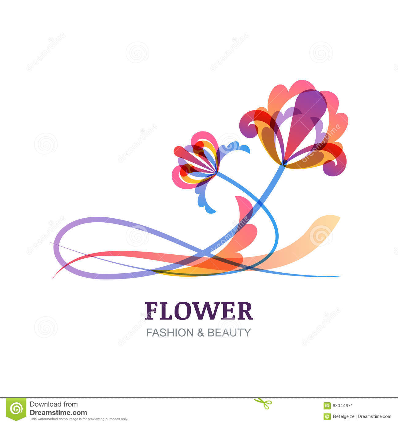 Vector illustration of colorful tropic flowers stock for Abstract beauty salon
