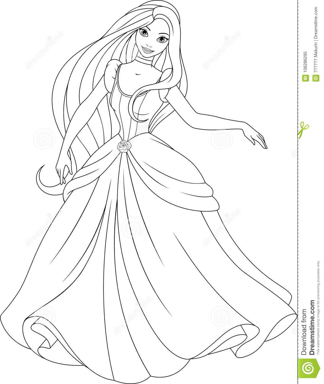 Coloring The Beautiful Princess Stock Vector Illustration Of