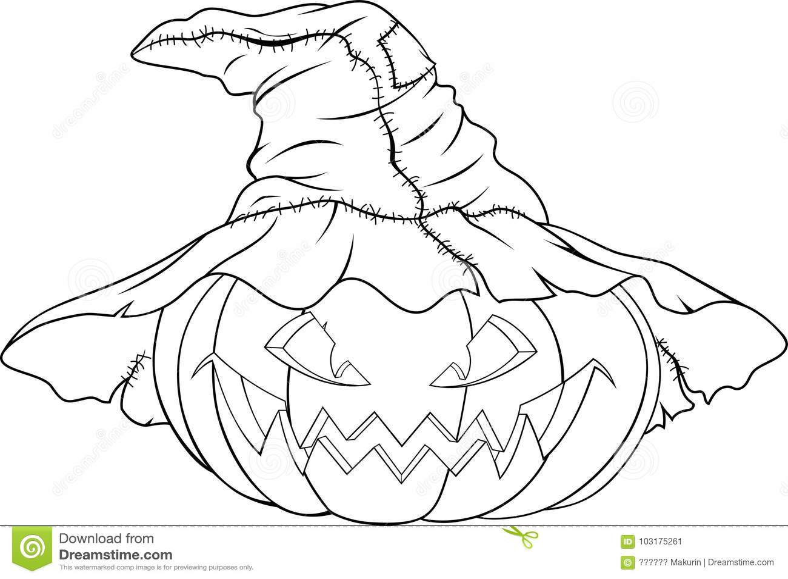 Coloring Pumpkin For Halloweenn Stock Vector - Illustration of draw ...