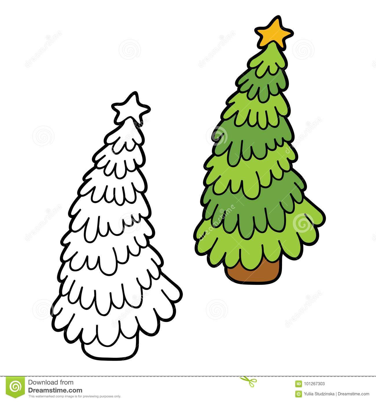 Christmas Tree Coloring With Example Stock Vector Illustration Of