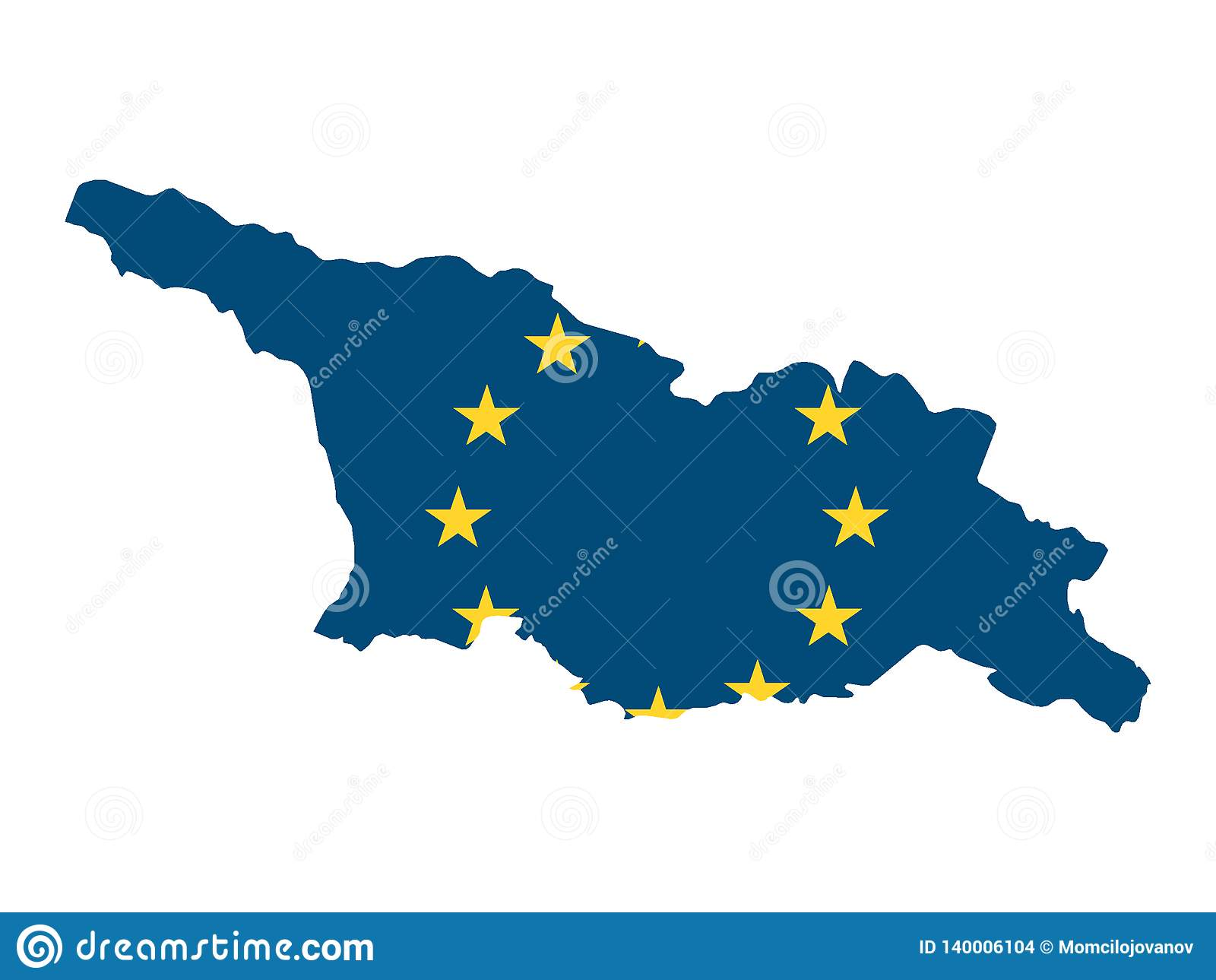 Map Of Georgia Eu.Combined Map And Flag Of Eu Country Of Georgia Stock Vector