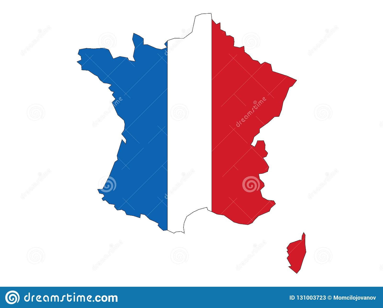 France Map Flag.Combined Map And Flag Of France Stock Vector Illustration Of