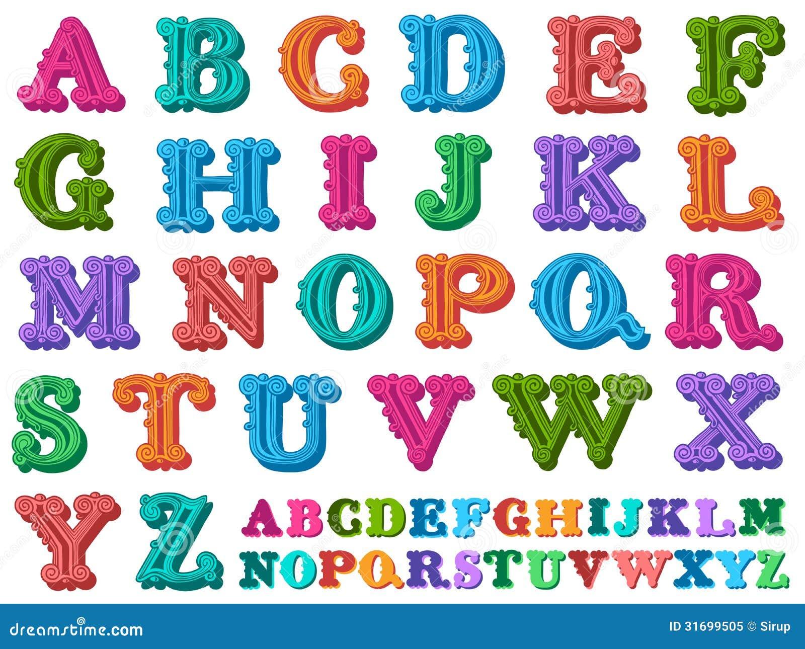 Vector illustration of a complete antiqua alphabet royalty - Letras decorativas infantiles ...