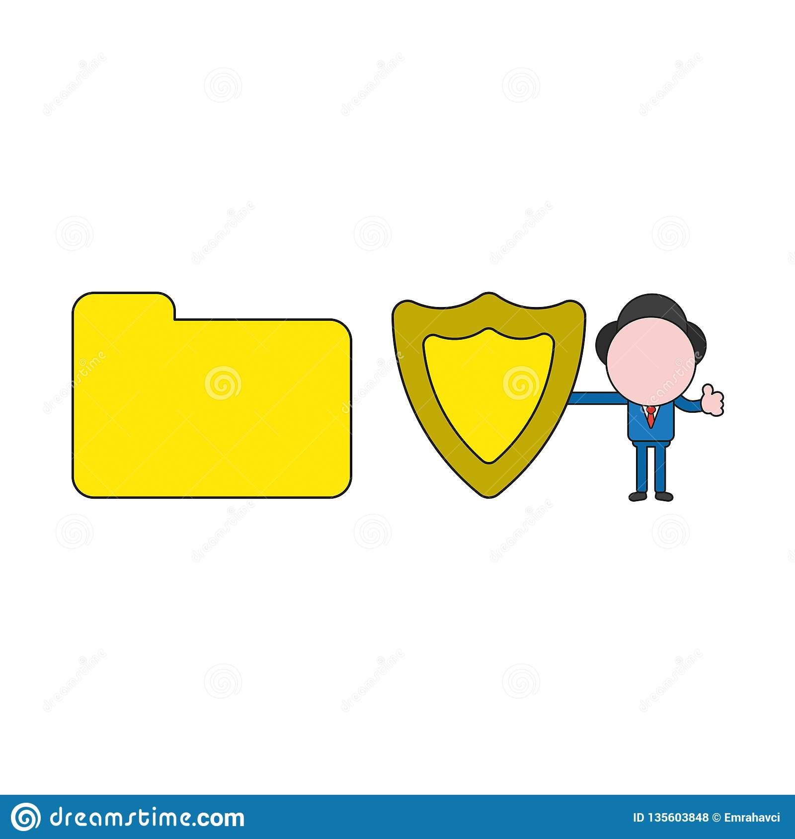 Vector illustration of businessman character with closed file folder, holding guard shield and giving thumbs-up. Color and black