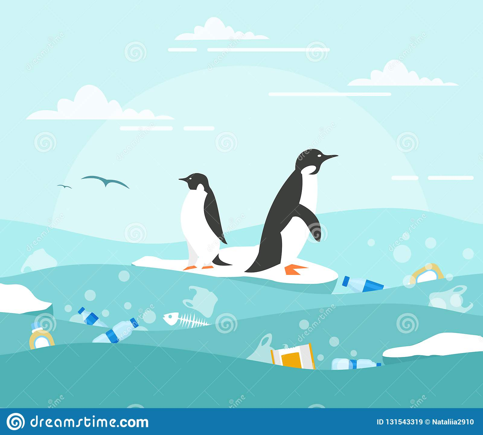 Vector illustration concept of ocean pollution with plastic waste. Penguins on the small piece of ice and lot of waste