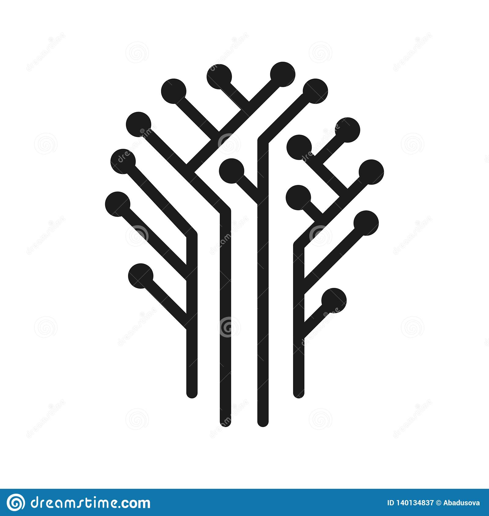 Vector Illustration Concept Of Technical Circuit Tree Graphic  Icon On White Background Stock