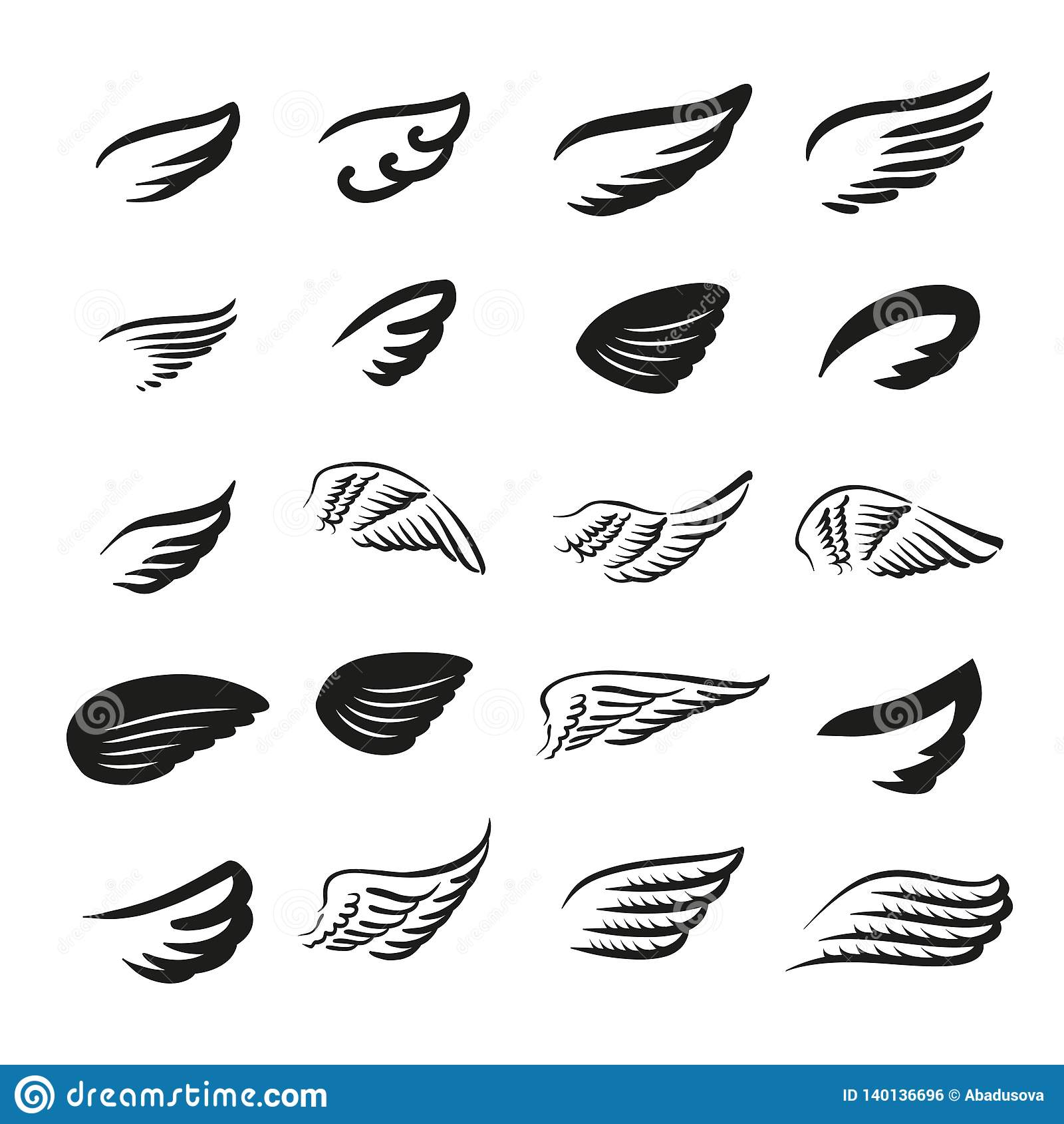 Vector illustration concept of wings logo. Icon on white background