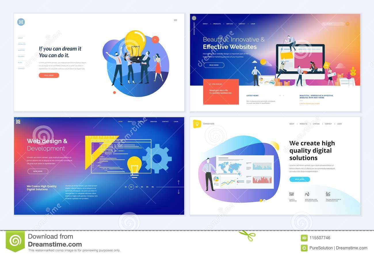 Set Of Creative Website Template Designs Stock Vector Illustration Of Marketing Business 115507746