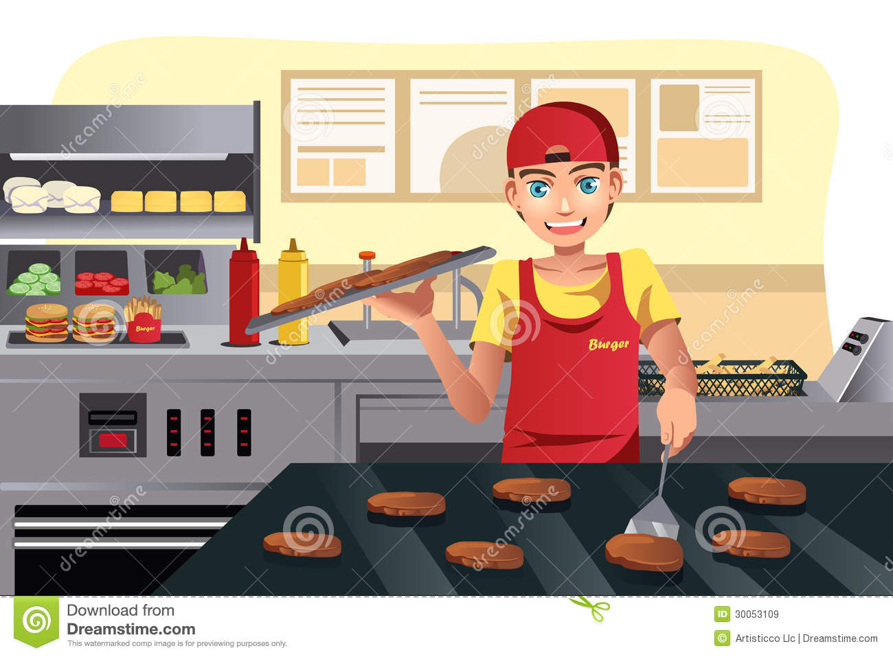 Cooking At Fast Food Royalty Free Stock Images - Image ...