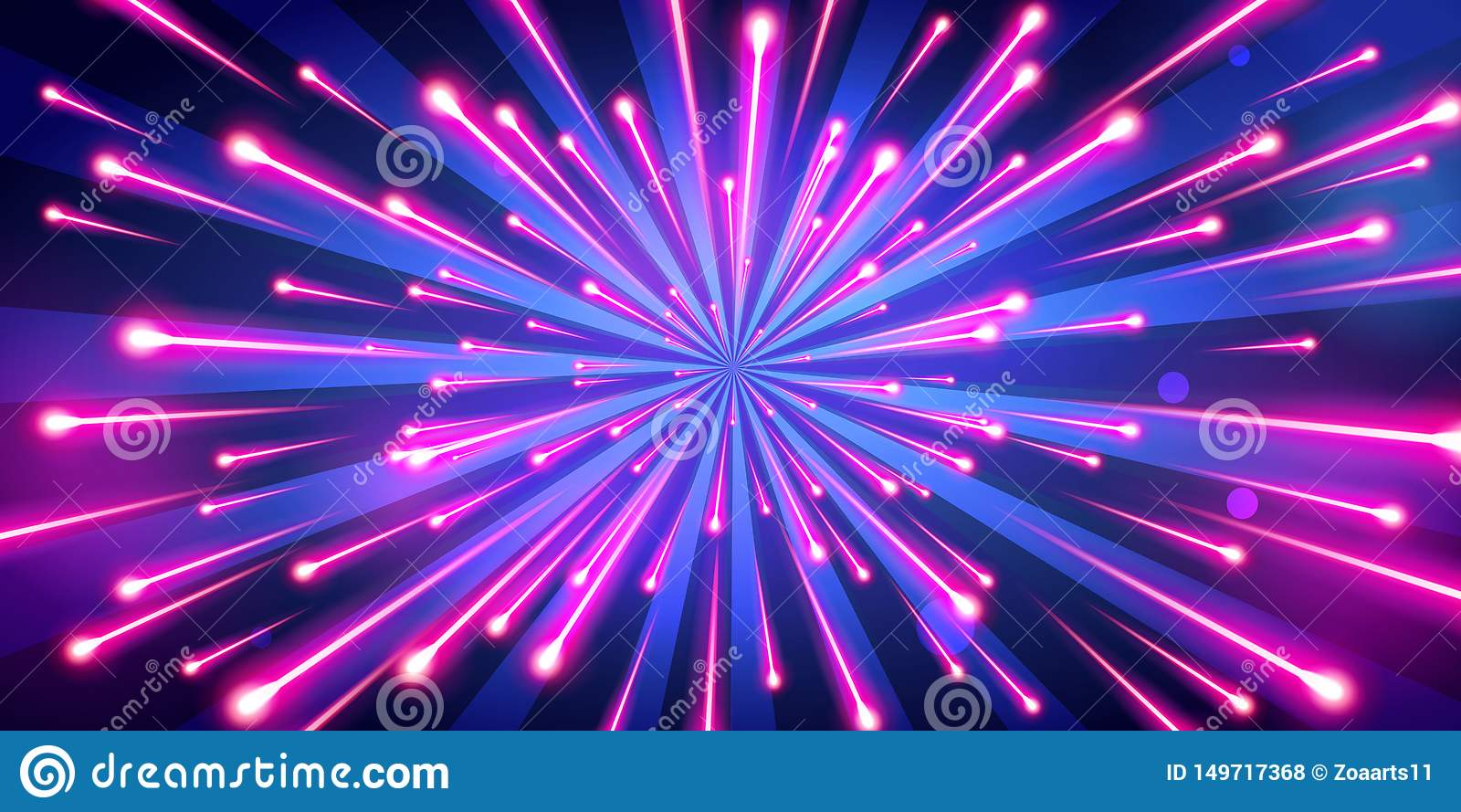 Vector Illustration Abstract Neon Color Big Bang Fireworks Galaxy Background Speed Of Light Stock Vector Illustration Of Celebration Digital 149717368