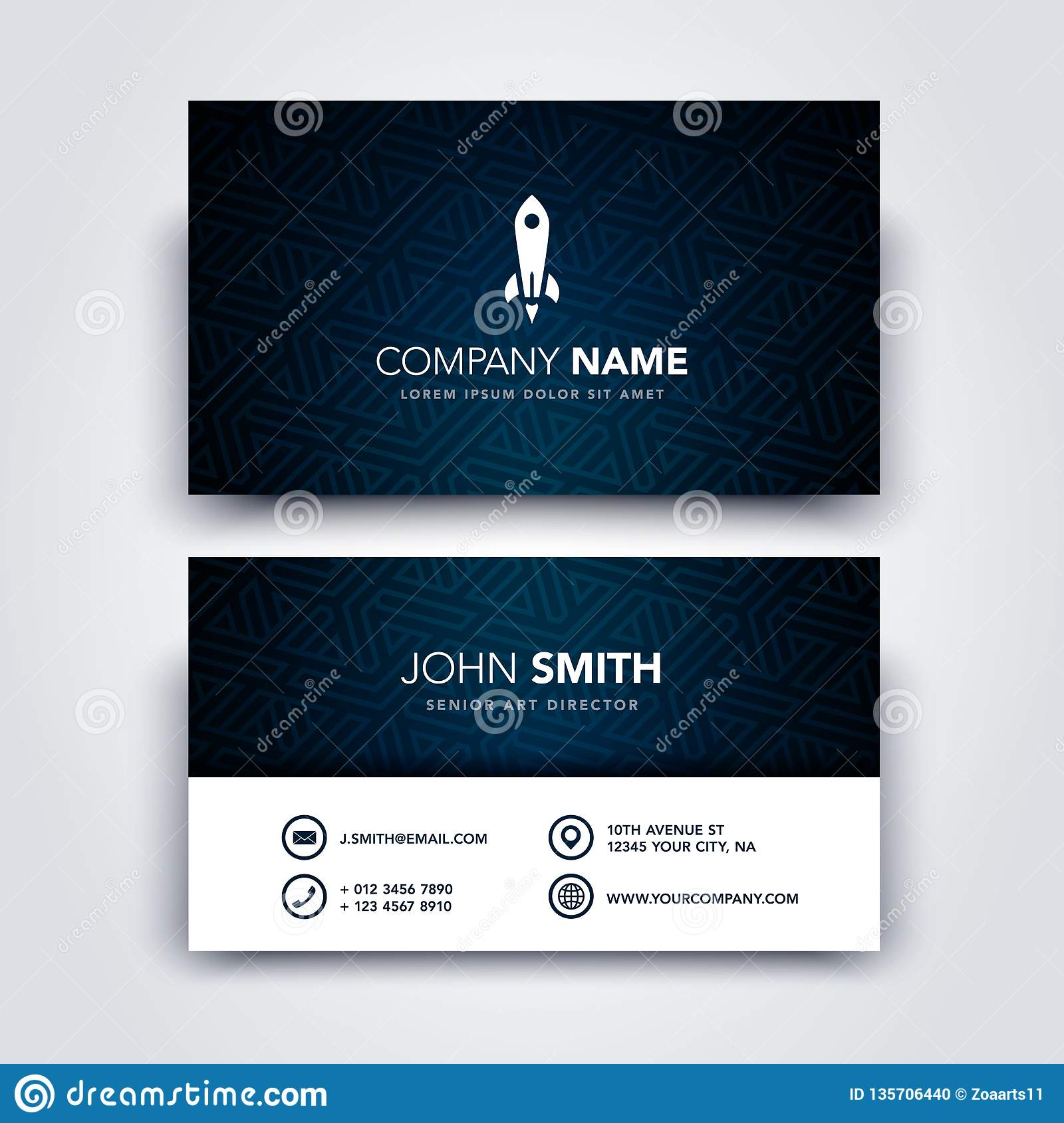 Vector Illustration Modern Creative Dark and Clean Business Card Template - Front and Backside
