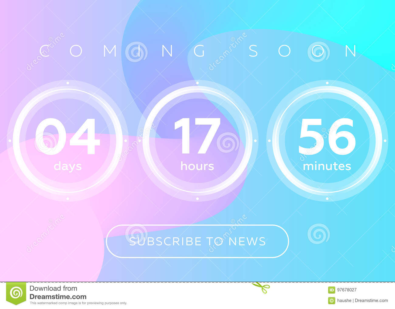 Vector Illustration of Countdown Timer. Digital Clock Design on Blue Abstract Fluid Background. Futuristic Counter for Website, Interface, Wallpaper, ...