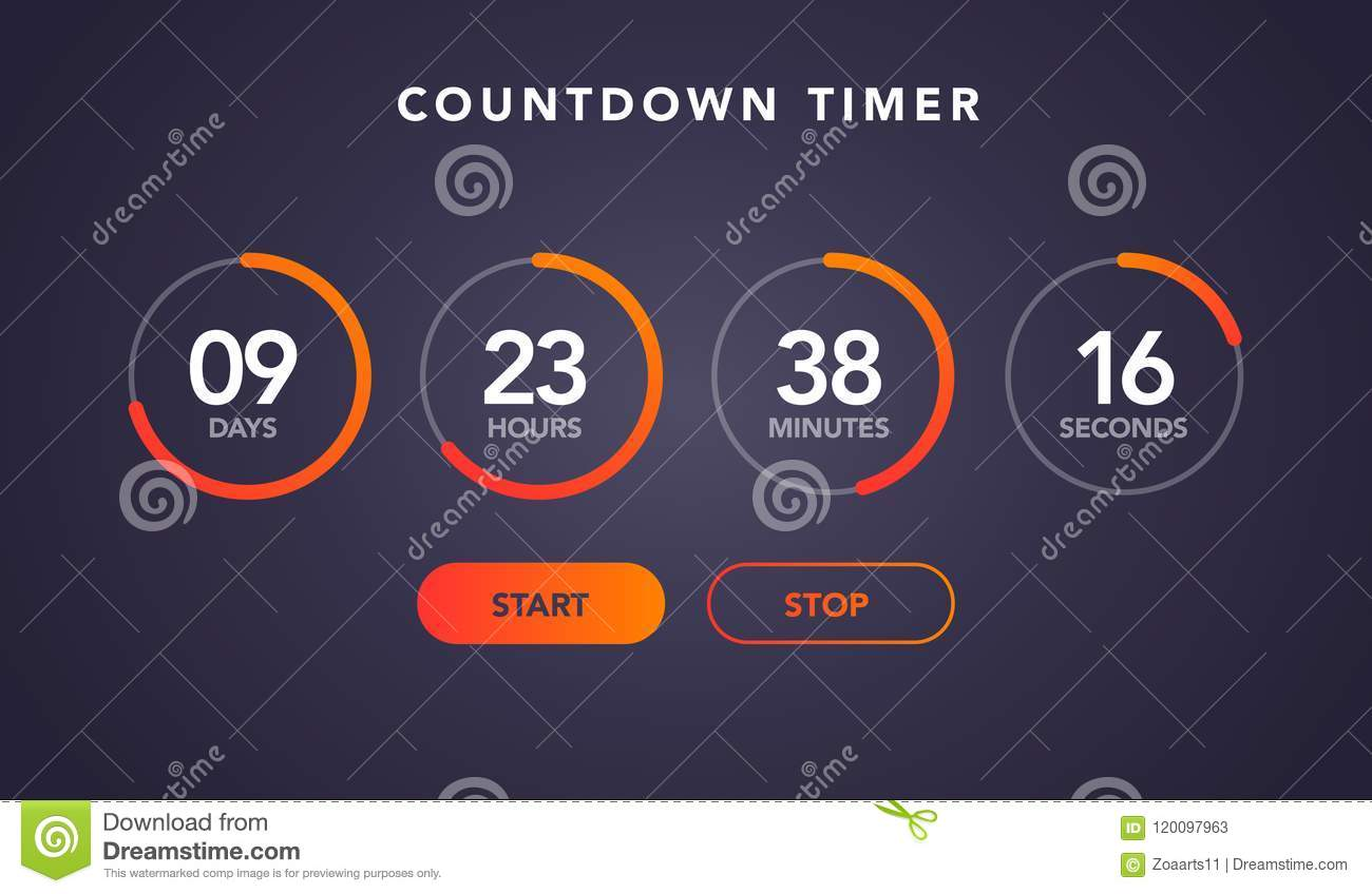 vector illustration countdown timer website element with buttons