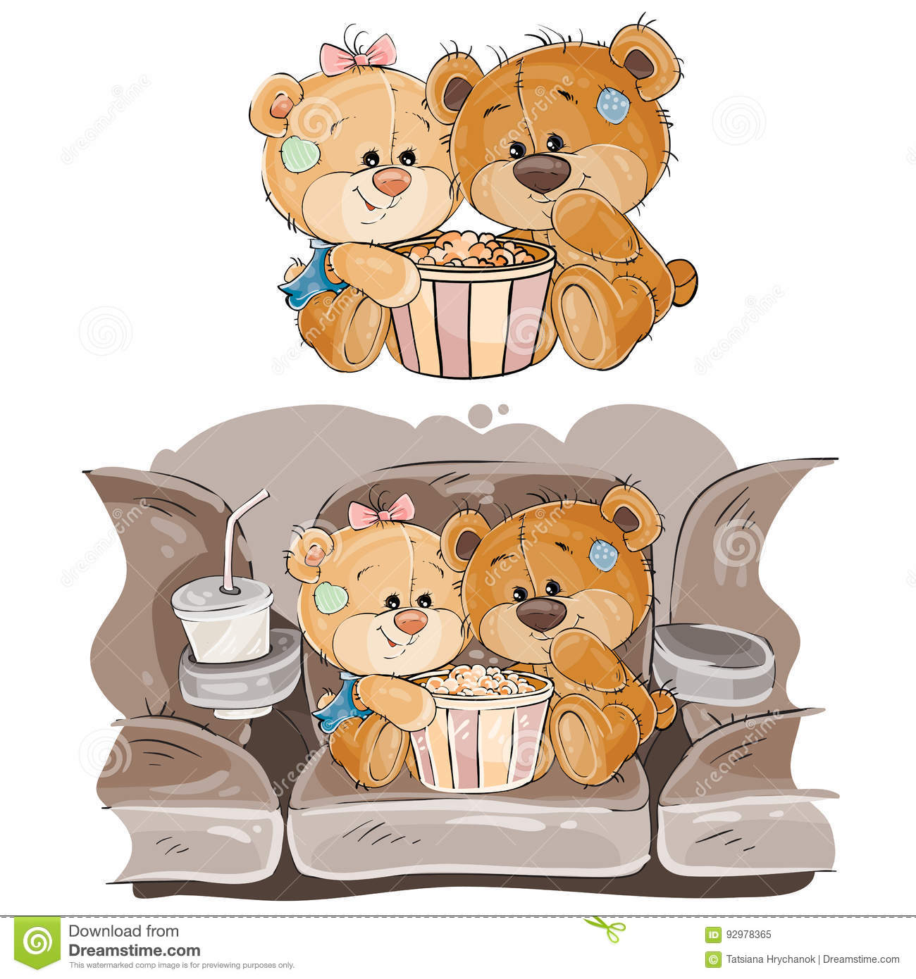 vector illustration of a couple of brown teddy bears sitting in the
