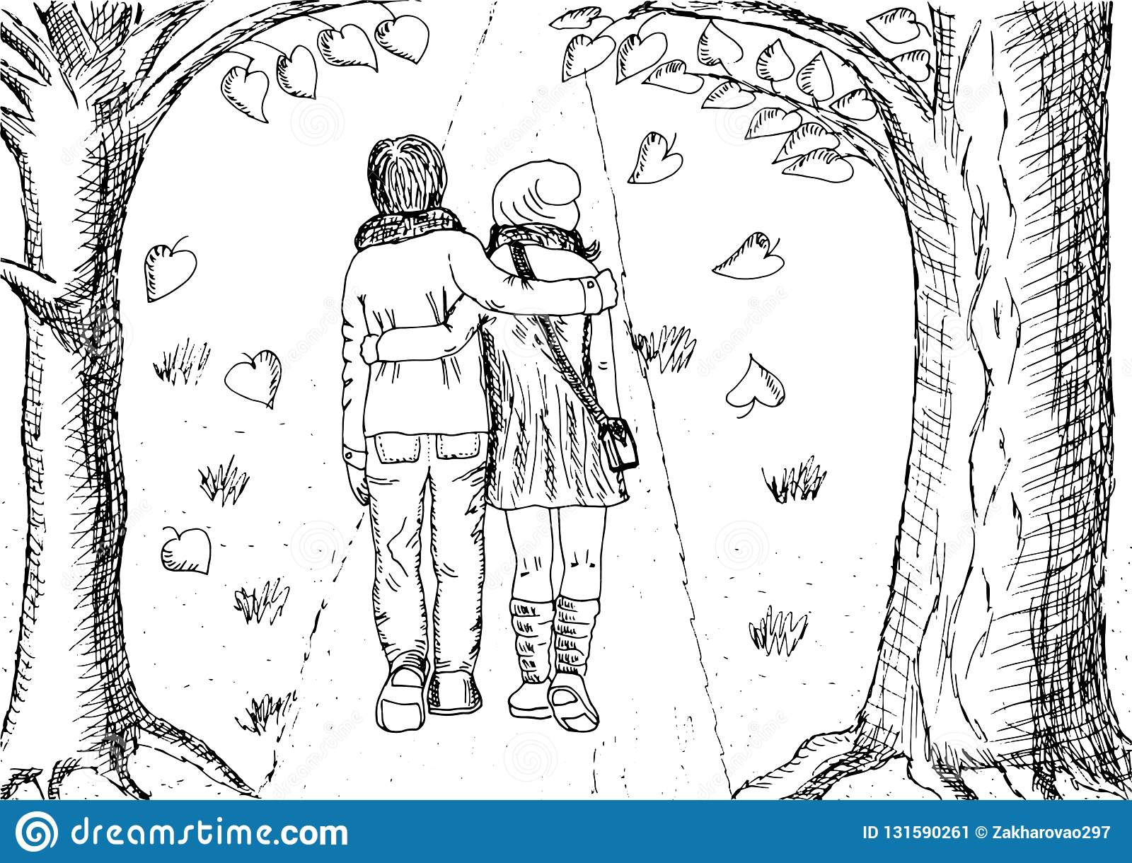 Vector illustration couple in love black and white hand