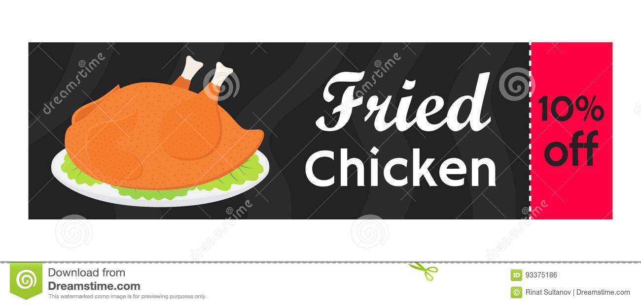 Vector Fried Chicken Coupon Tasty Fast Food Sale Cartoon Flat