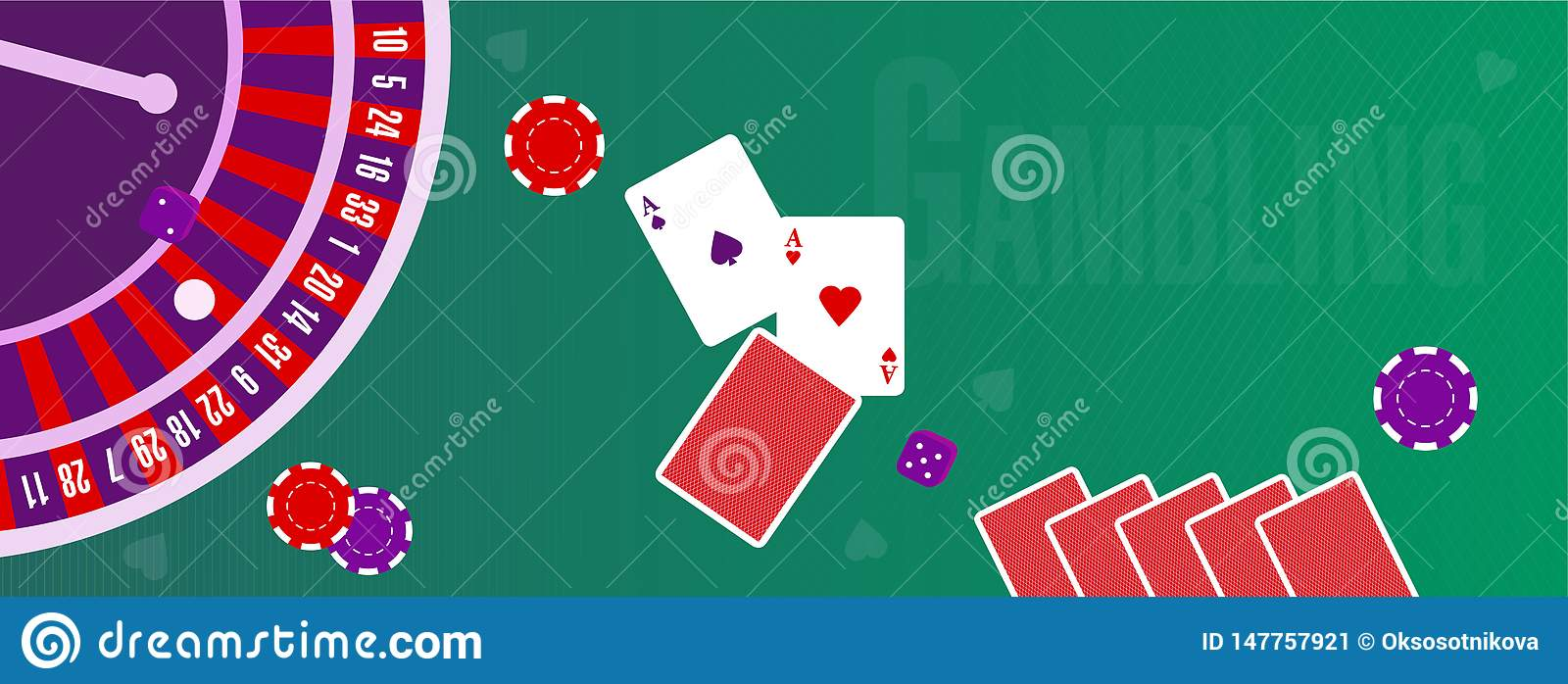 Vector illustration or cover for a site about gambling