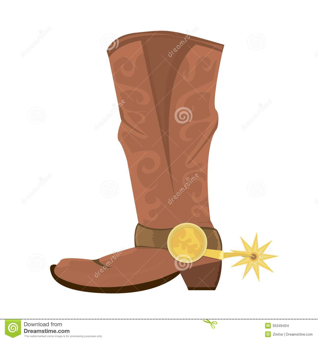 Vector Illustration Of Cowboy Boots With Spoor Stock Vector ...