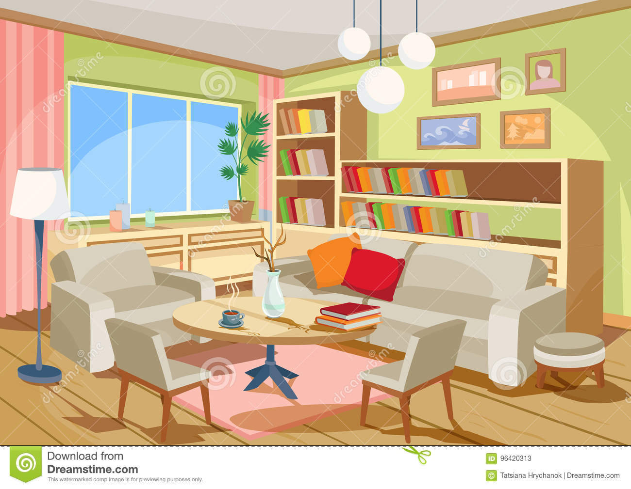 Terrific Vector Illustration Of A Cozy Cartoon Interior Of A Home Interior Design Ideas Gresisoteloinfo
