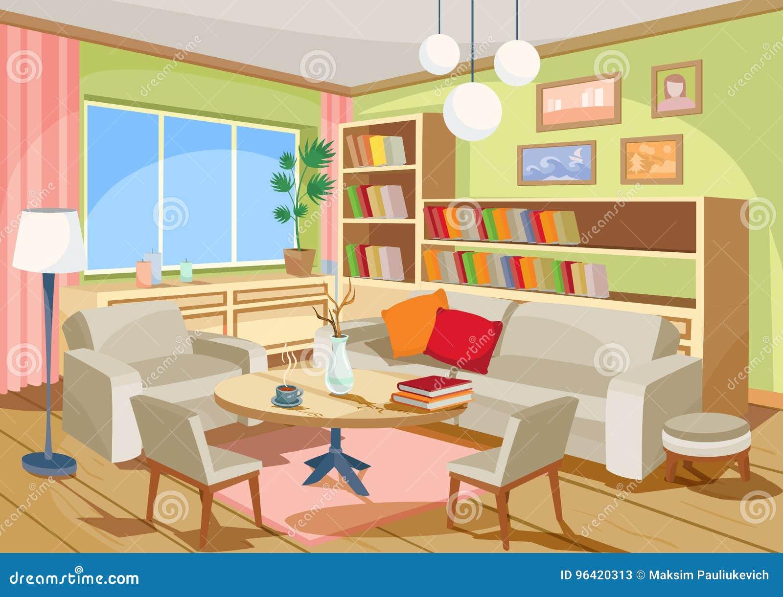 Strange Vector Illustration Of A Cozy Cartoon Interior Of A Home Download Free Architecture Designs Fluibritishbridgeorg