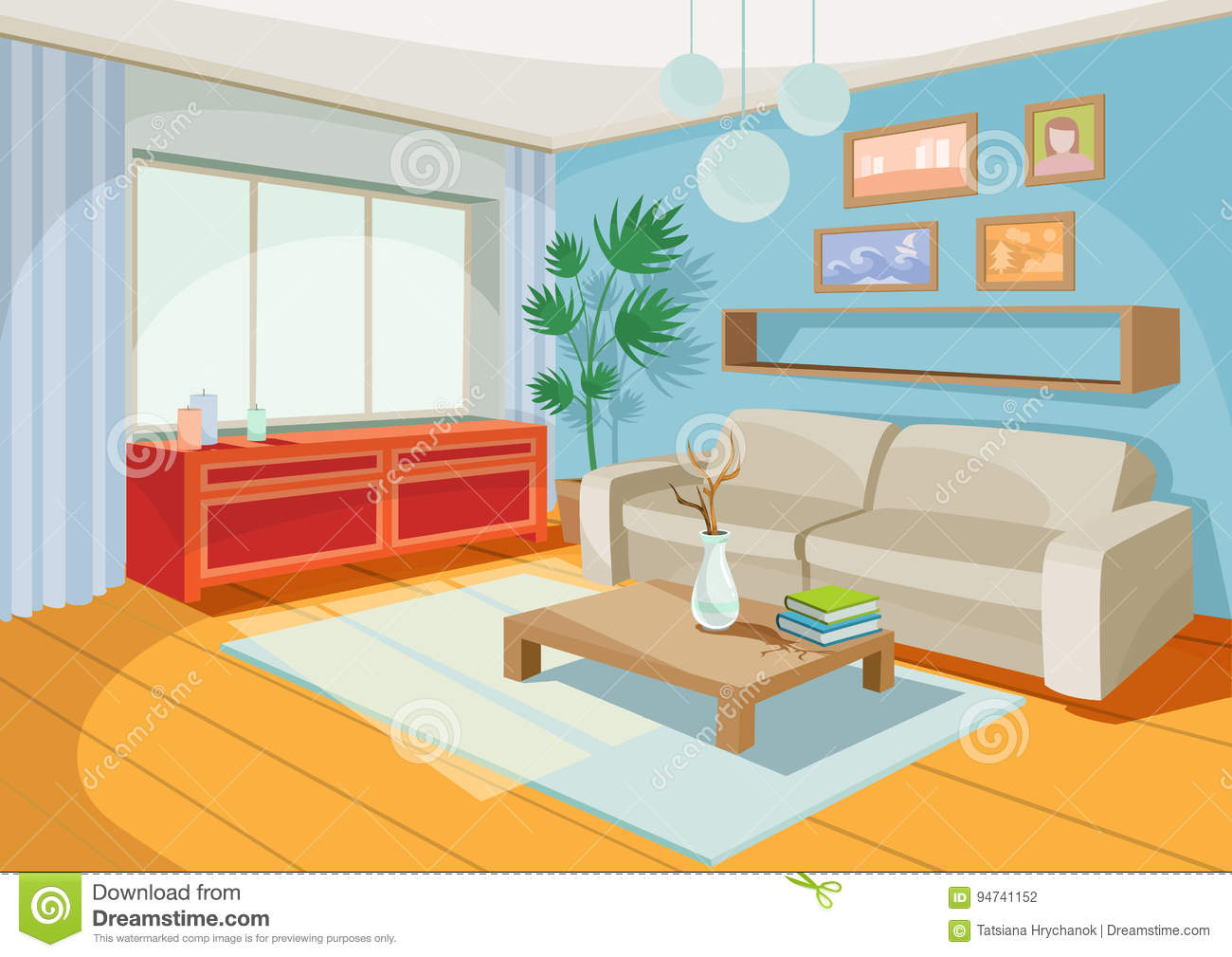 Fantastic Vector Illustration Of A Cozy Cartoon Interior Of A Home Interior Design Ideas Gresisoteloinfo