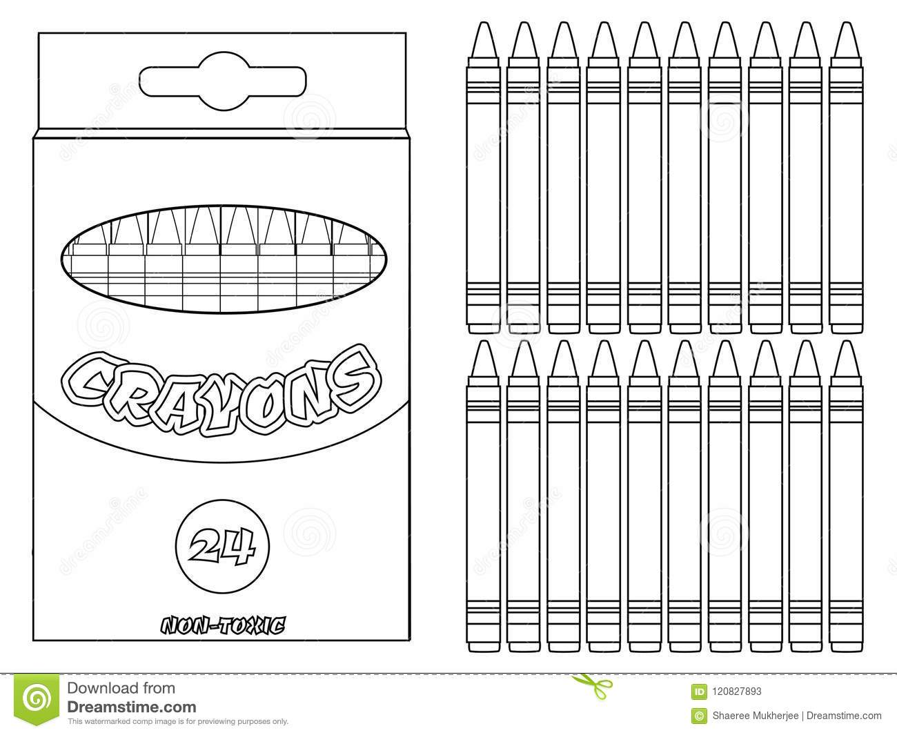 Vector Illustration Crayons Coloring Page Stock Vector